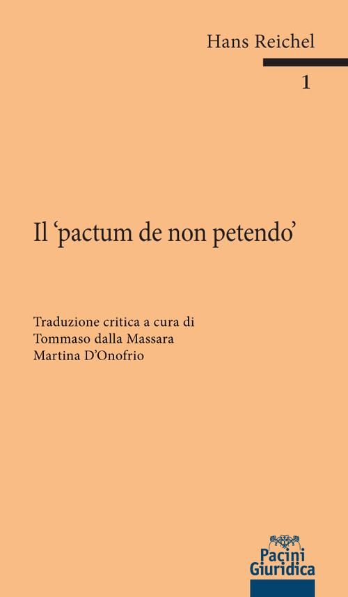 9788833790190 Il pactum de non petendo