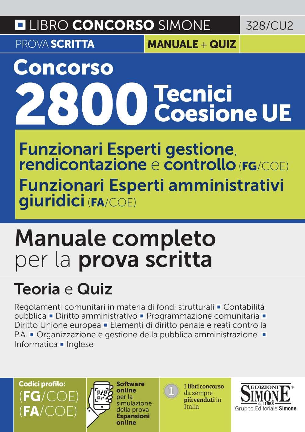9788891428295 Concorso 2800 Tecnici Coesione UE Teoria e Quiz